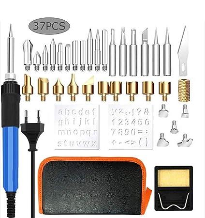 37 piezas de pirograbado y herramientas de soldadura, temperatura ajustable, fácil de usar,