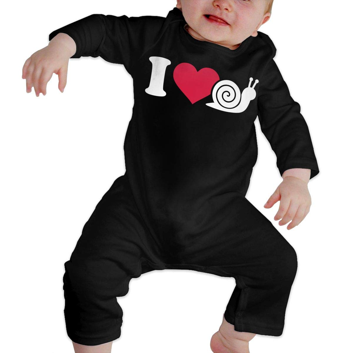 I Love Snail Baby Girl Long Sleeve Bodysuit Kid Pajamas Onsies