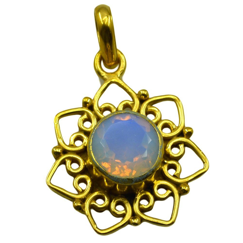 Fire Opal CZ Gold Plated Pendant For Women Round Charm Flower Necklace Chakra Healing October Birthstone