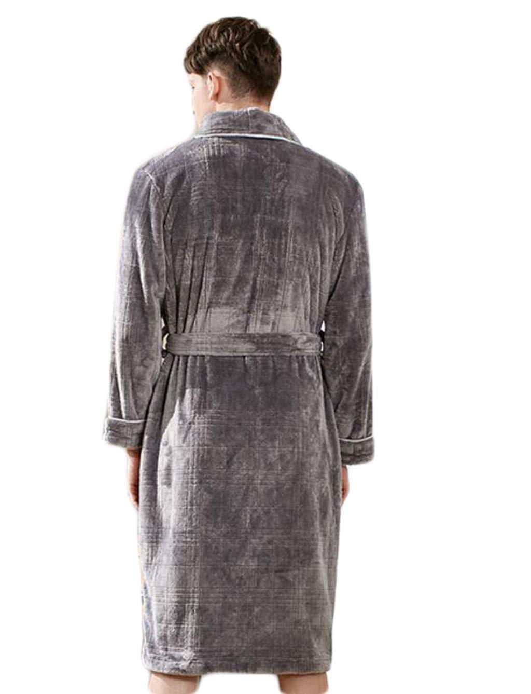 DAFREW Batas de los Hombres, Ropa de casa de camisón cálido Grueso de Franela, Pijamas de Invierno de Moda a Cuadros Simples (Color : Gray, Tamaño : Metro): ...