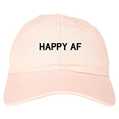 487c32a4 Happy AF 6 Panel Dad Hat Cap - Pink -: Amazon.co.uk: Clothing