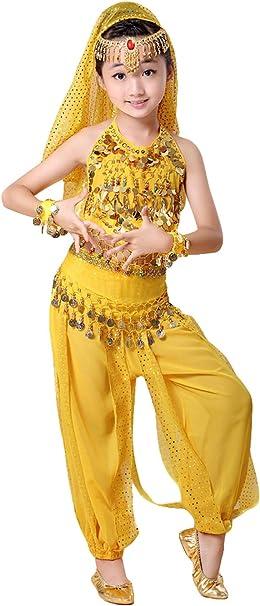 7 Piezas Niña Traje de Danza del Vientre Lentejuela Baile India ...