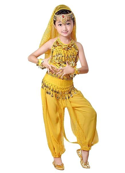 7 Piezas Niña Traje de Danza del Vientre Lentejuela Baile India Disfraces Belly Dance Cosplay Halloween Carnaval Fiesta Costume