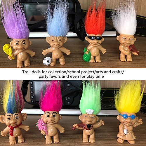 8PCS Troll Dolls, 80s PVC Vintage Trolls Lucky Doll Action Figures 3 (Include the Length of Hair)Chromatic Adorable For Collections, School Project, Arts and Crafts, Party Favors