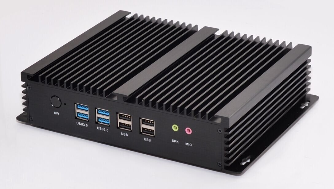 New Haswell i5 4200U Industrial PC IPC Mini PC Fanless PC with Dual LAN GbE 8G RAM 128G SSD Support Linux//Windows 6 COM 8 USB USB3.0 VGA HDMI Rich IO Black Aluminum Nic