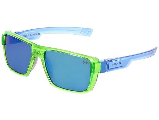 281ec3a015b Under Armour UA Recon Rectangle Sunglasses Crystal Lime Blue Frame Blue  Mirror Lens