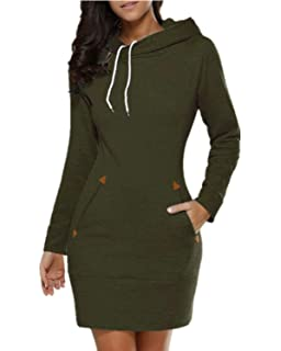 Women's Long Sleeve Cotton Slim Fit Midi Hoodie Dress with