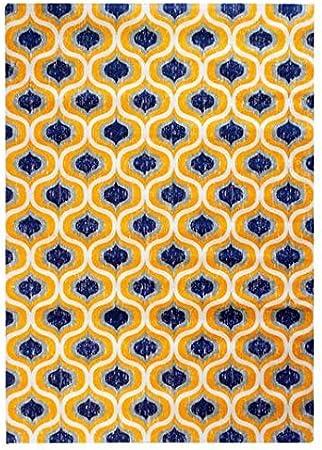 Alfombra Impresa de Algodón Urban Yellow Amarilla y Azul.1 x 180 x 120 cm.: Amazon.es: Hogar