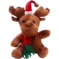 STOBOK Lindo Reno Relleno de Peluche muñeca de Juguete de Dibujos Animados Adorable Animal Juguete decoración navideña, decoración de la habitación de los niños, niños (16 cm)