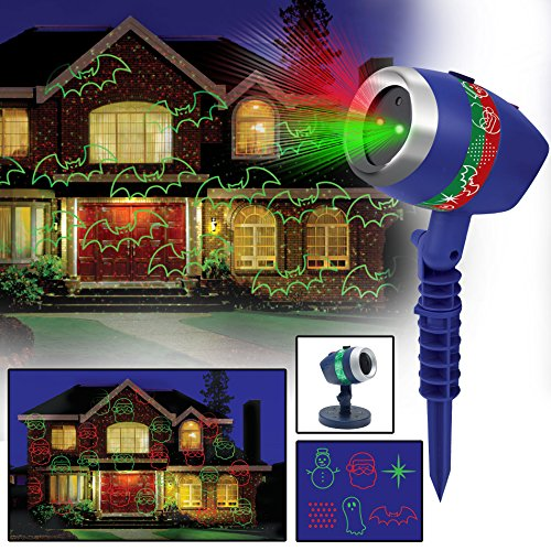 New 2017 Star Shower Laser Magic by BulbHead Includes 6 Festive Designs for Christmas (4) and Halloween (2)