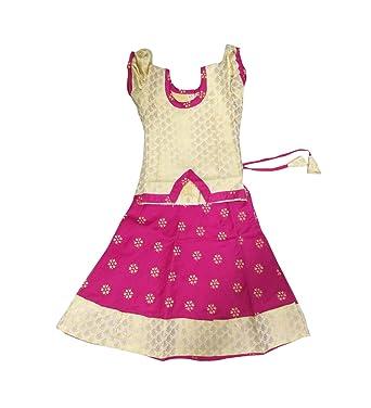 82cc82355cff1 Amazon.com  Pattu Pavadai Fancy Langa Pink and Cream for Baby Girls ...