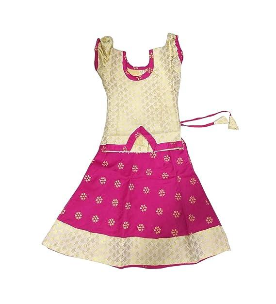Amazon.com: Pattu Pavadai Fancy Langa rosa y crema para ...