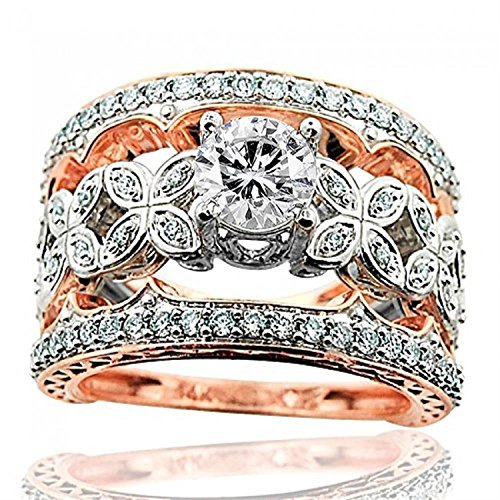 (Midwest Jewellery 14K Rose Gold Wedding Ring Set Diamond Vintage Extra Wide 2 Tone (1.4ctw, i1/i2, i/j))