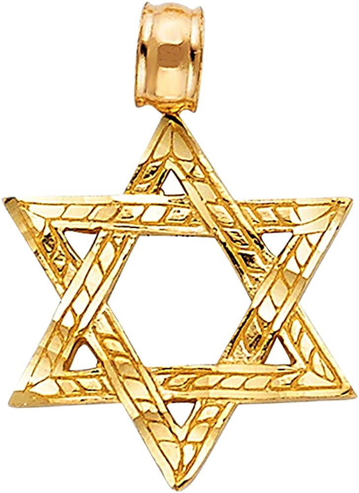 14K Yellow Gold Star of David Charm Pendant with 0.9mm Wheat Chain Necklace