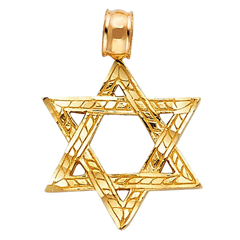 14k Yellow Gold Star of David Pendant Charm
