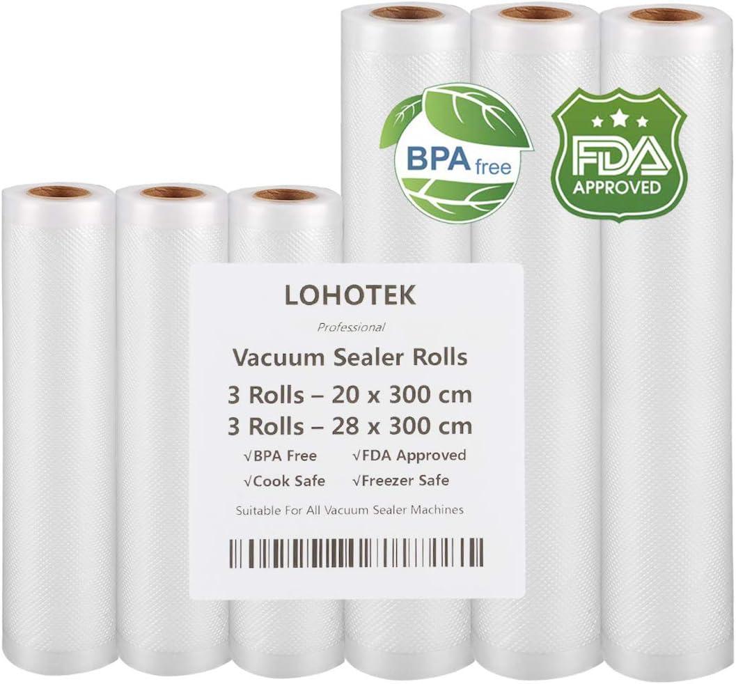 Rollos para Envasadora Sellador de Vacío 3 packs 20cmx300cm y 3 packs 28cmx300cm Bolsas Profesional para la Conservación de Alimentos Protector la Comida para Cocina