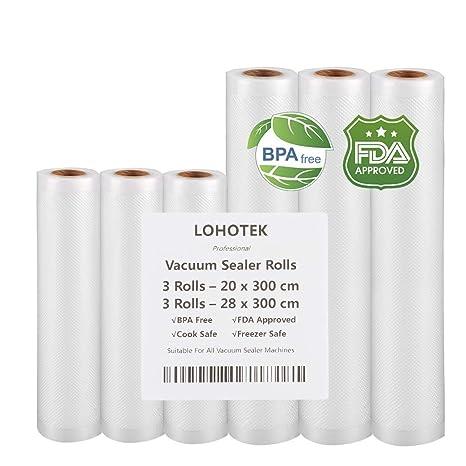 Rollos para Envasadora Sellador de Vacío 3 packs 20cmx300cm y 3 packs 28cmx300cm Bolsas Profesional para la Conservación de Alimentos Protector la ...