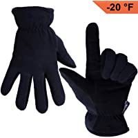 OZERO Winter Gloves, -20°F(-29℃) Cold Proof Thermal Work Glove - Deerskin Suede Leather Palm and Polar Fleece Back with Heatlok Insulated Cotton - Hands Warm in Cold Weather for Women and Men
