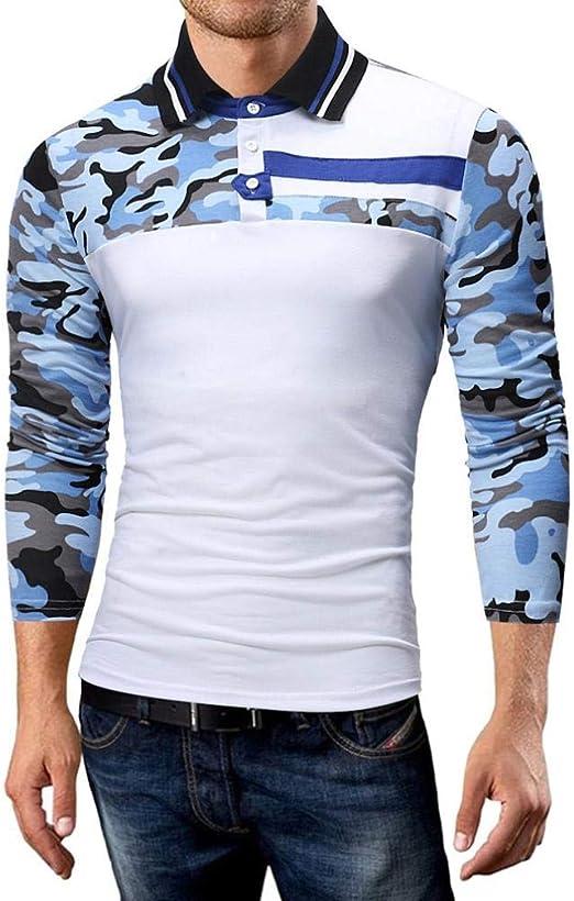 Qiusa Camisa de Manga Larga para Hombre Camiseta Informal ...