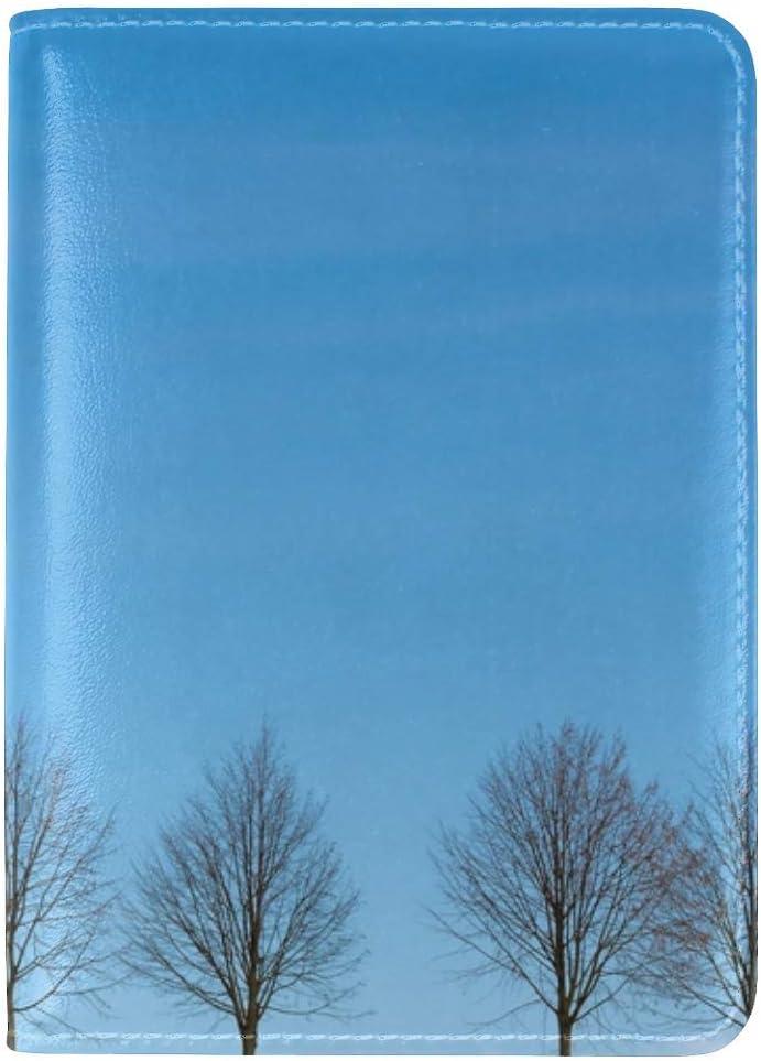 Trees Minimalism Sky Leather Passport Holder Cover Case Travel One Pocket