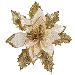 Amaping Christmas Tree Cedar Hanging Ornament Artificial Flower Greenery Silk Maple Glittering Sequins Crystal Bouquet Pendant Home Wedding Decor 2
