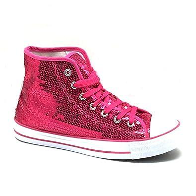 new product 2effd 16b13 Unbekannt Pailletten Schuhe Pink Glitzer 36-42 Damen & Herren Designer  Schnürer