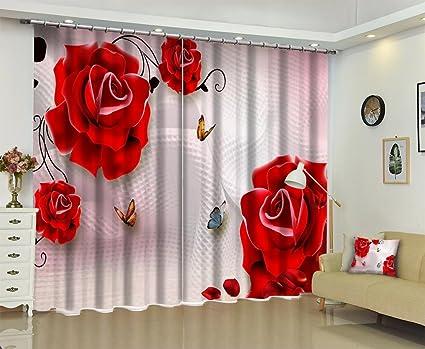 Tende A Fiori Per Camera Da Letto : Tende camera oscuramento blackout noise reduction d fiori rossi
