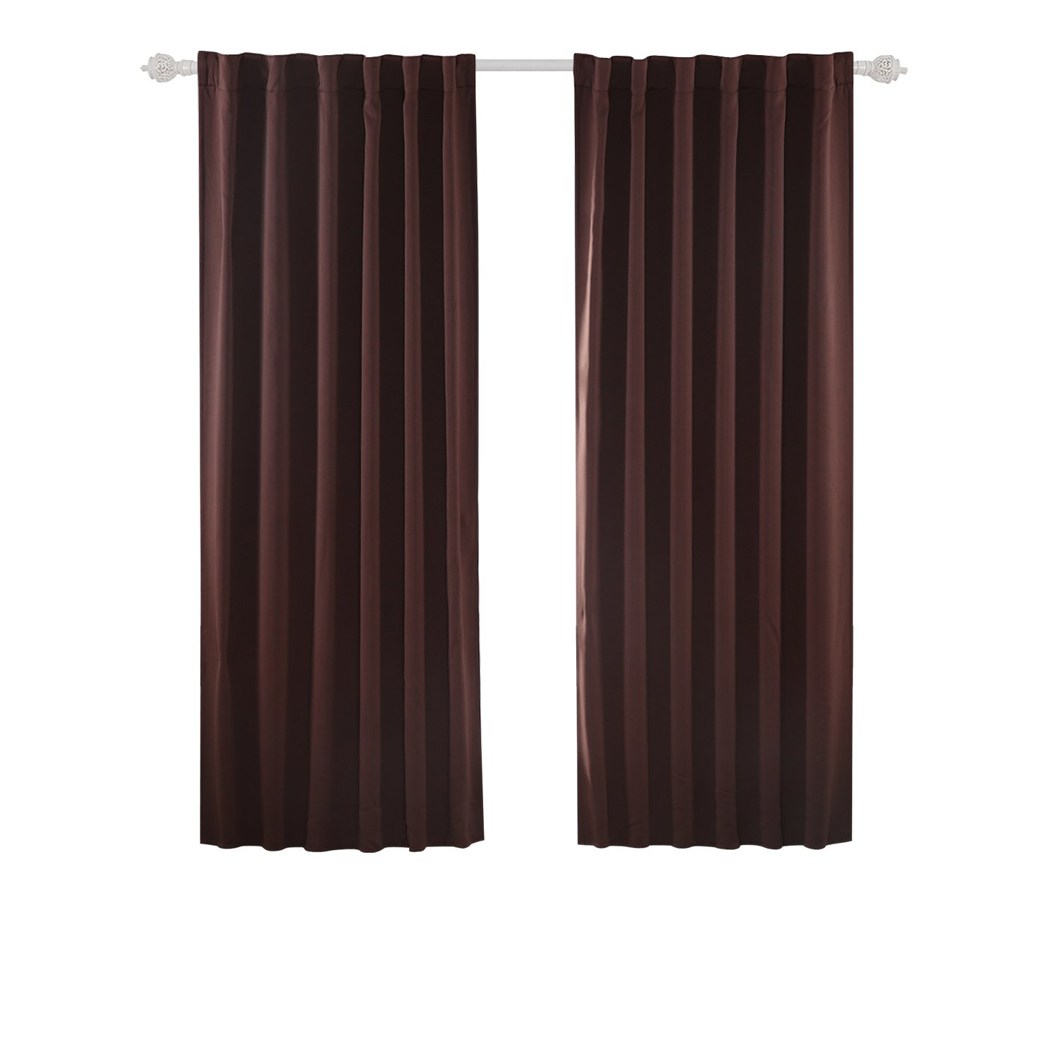 Deconovo Blackout Curtains Back Tab and Rod Pocket Curtains 2 Panels 42W x 45L Inch, Brown