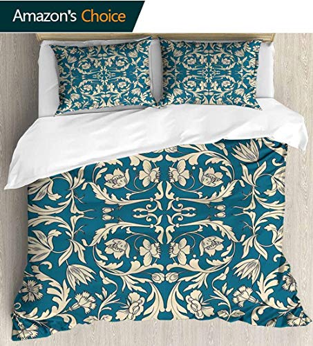 - shirlyhome Chinese Cotton Bedding Sets,Far Scroll Pattern with Floral Curls Oriental Flourish Kids Bedding-Does Not Shrink or Wrinkle 80