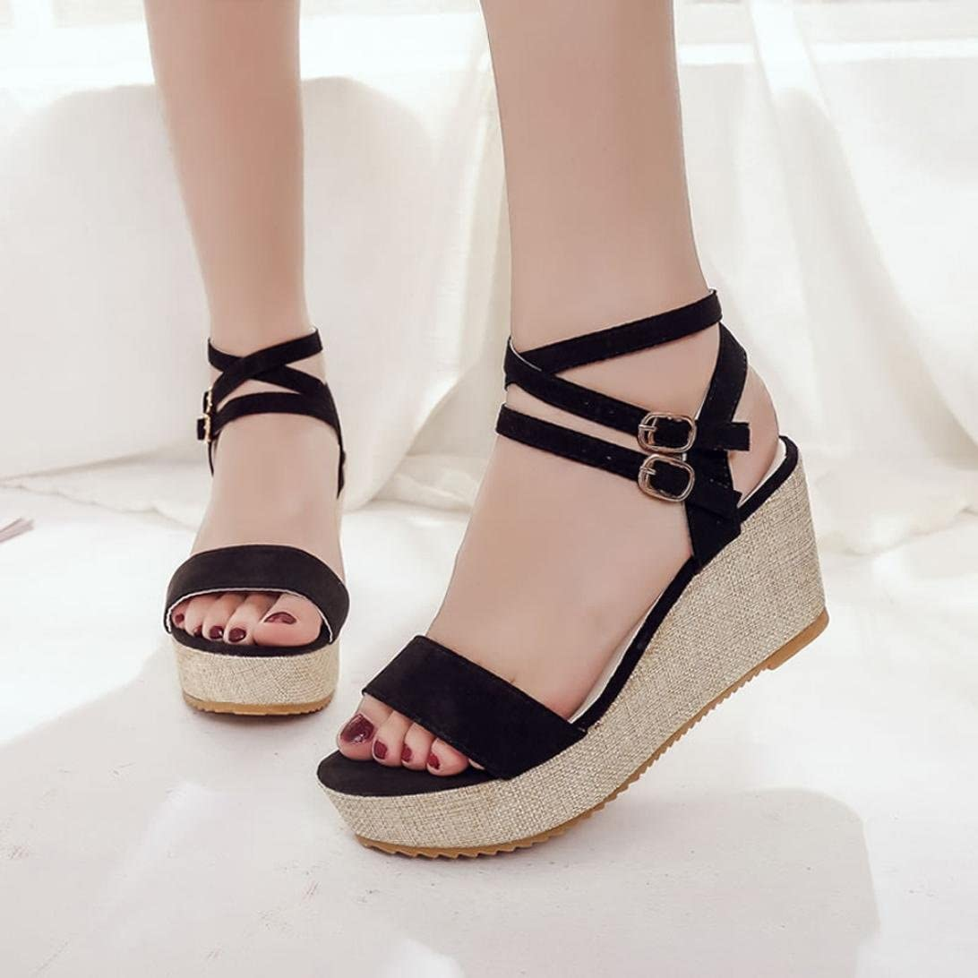 Hemlock Lady Slope Sandals Loafers Shoes High Heeled Wedge Sandals Floral Platform Sandals Lace Up Shoes Dress Sandals