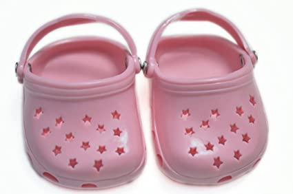 788399142dce Image Unavailable. Image not available for. Color  Brittany s Pink Star  Clogs Compatible with American Girl Dolls- 18 Inch Doll Shoes