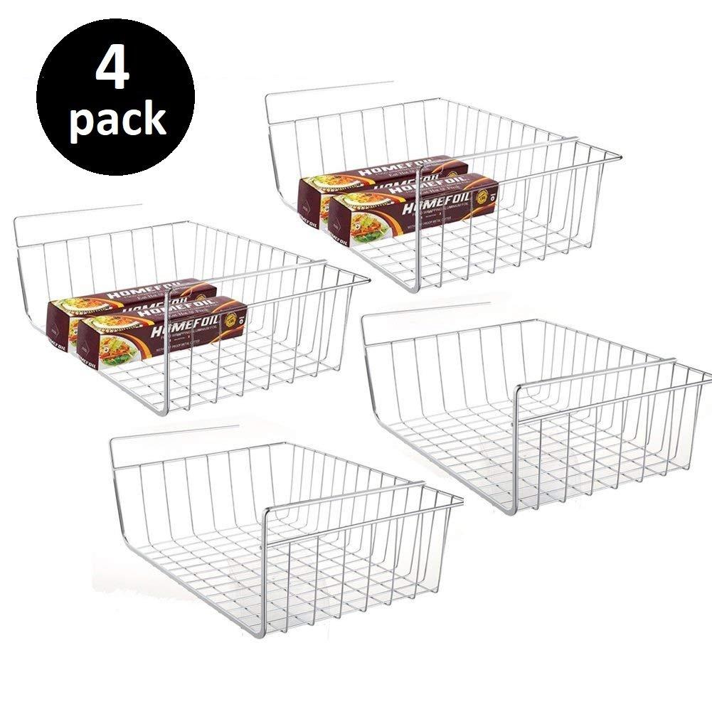 4pcs Under Shelf Basket Cabinet Storage Kitchen Wire Rack Organizer Fit Dual Hooks for Desk Pantry Bookshelf Cupboard - Premium Anti Rust Stainless Steel - Silver