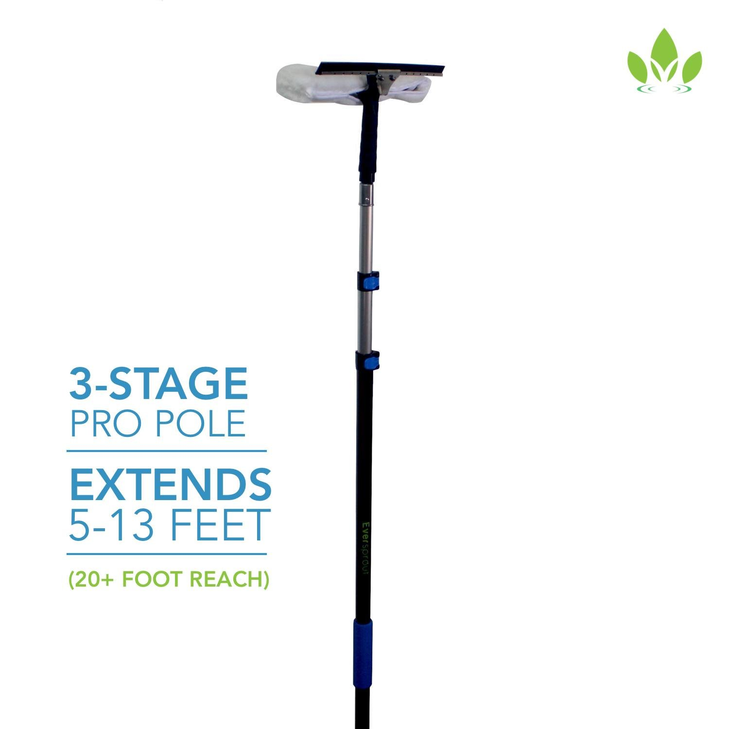 EVERSPROUT Pro-Series 5-to-13 Foot Squeegee Window Scrubber (20 Ft. Reach)   2-in-1 Window Cleaning Combo   Extra-Wide 16'' Squeegee with Light-Weight, Aluminum Extension Pole
