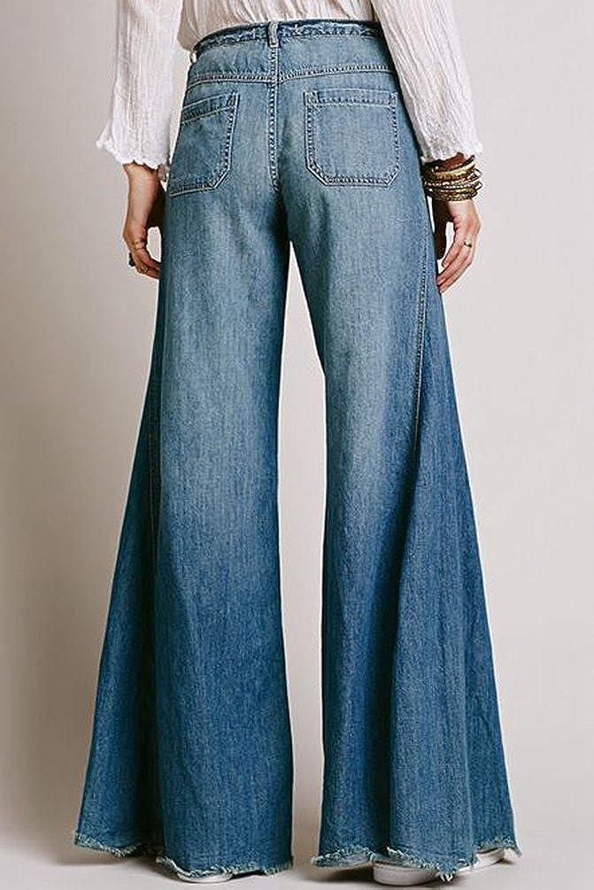 Zhiyuanan Mujer Pantalon Vaquero Campana O Vaqueros Anchos Elástico Mezclilla Pantalones Cómodo Casual Denim Jeans