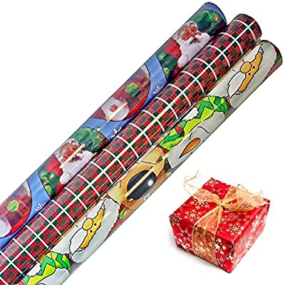 Winter Themed Gift Wrap in Assorted Bright Styles 24 in x 20 ft in Each Roll, 3 Rolls