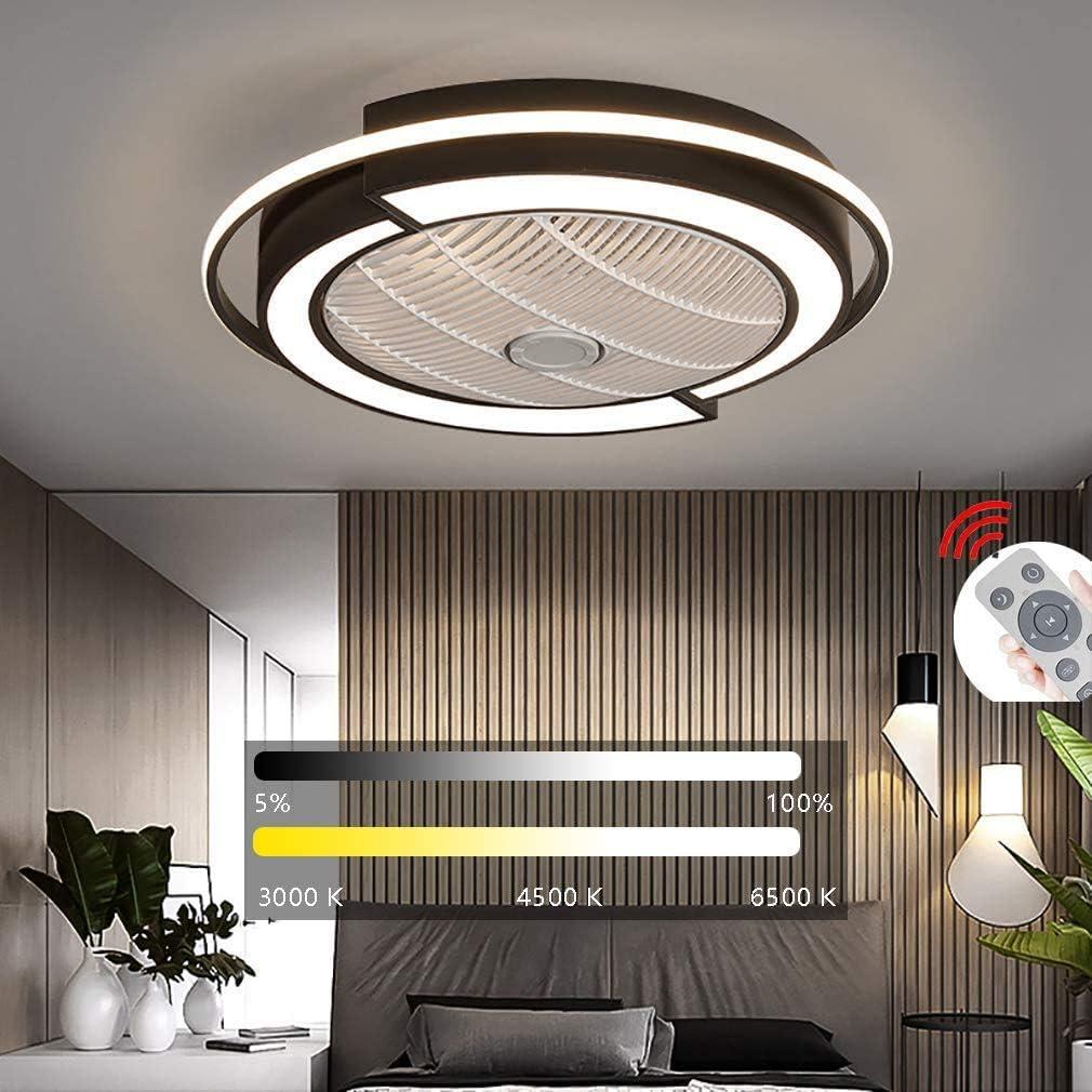 ZXM LED del Ventilador Ventilador De Techo con Luces Lámpara Control Remoto Quiet Regulable Velocidad del Viento Ajustable para El Dormitorio Sala De Estar Comedor, D53 X 20Cm / 36W,Negro