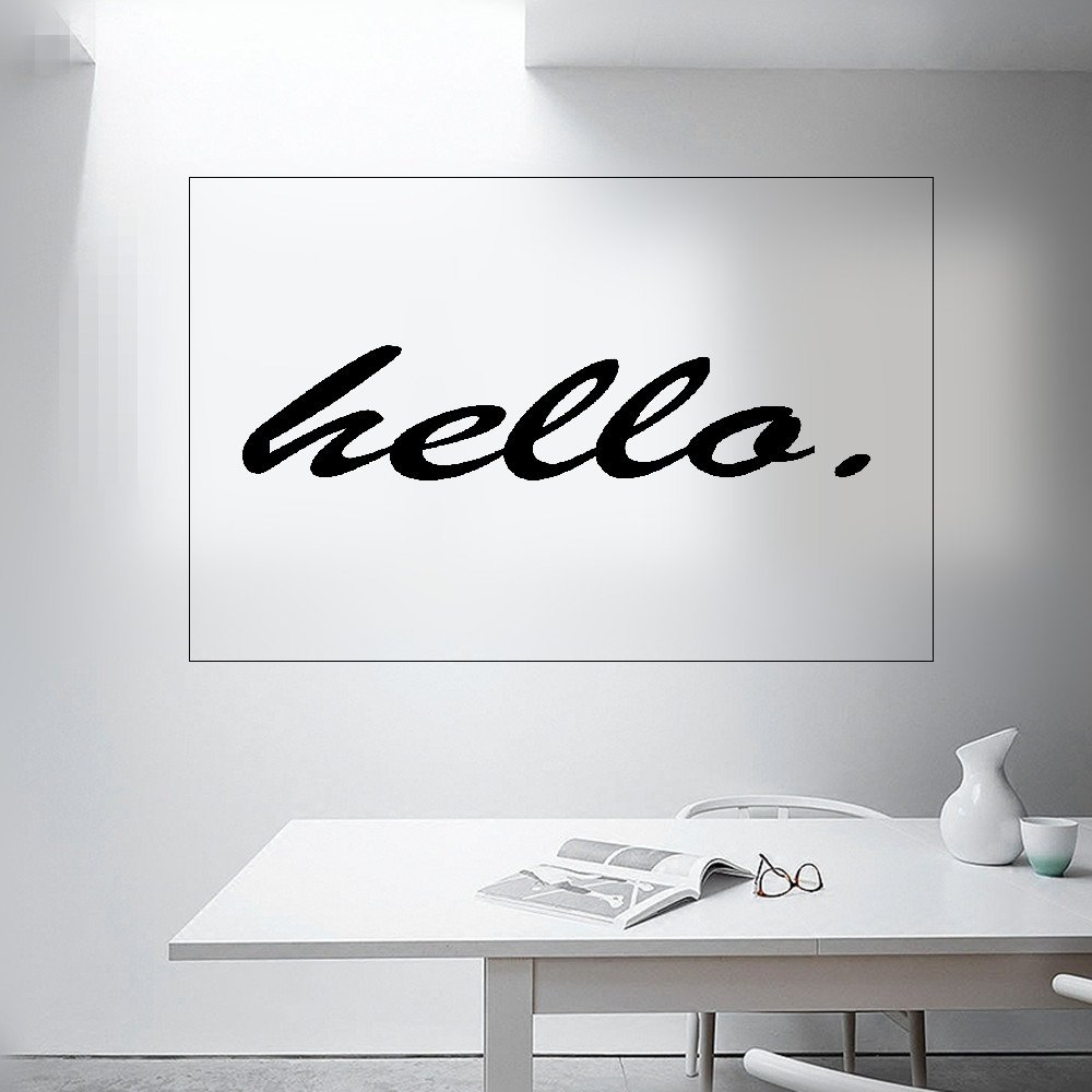 Amazon com wall sticker quotes modern popular hello english quotes wall stickers home decor living room bedroom sofa background coffee greeting wall decals