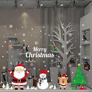 Christmas Sticker Santa Snowman Christmas Tree Window Sticker Happy Christmas Ball Snowflake Applique Display Shop Glass Decoration Christmas Decoration Party Supplies Detachable (Christmas snowman)