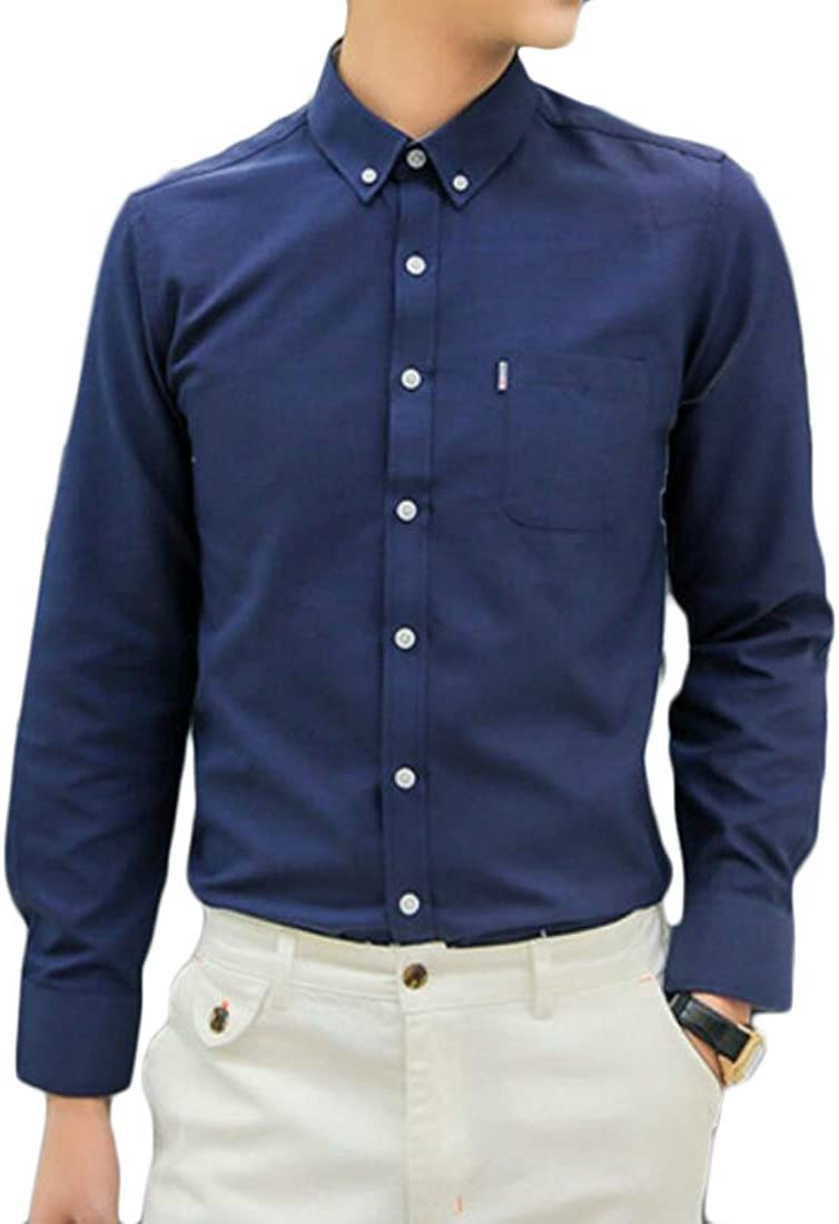 Hilization Mens Classic Long Sleeve Slim Fit Solid Oxford Button Front Shirts