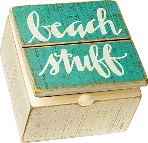 Beach Stuff Keepsake Sign Wooden Hinged Box By Primitives by Kathy