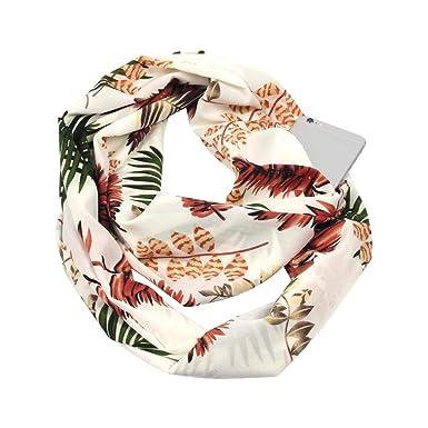 Femme Foulard Imprimé Scarf With Zipper Pocket Echarpe à Poche De Cou Echarpe  Pochette SecrèTe Pas Cher Size 19.7x70.9