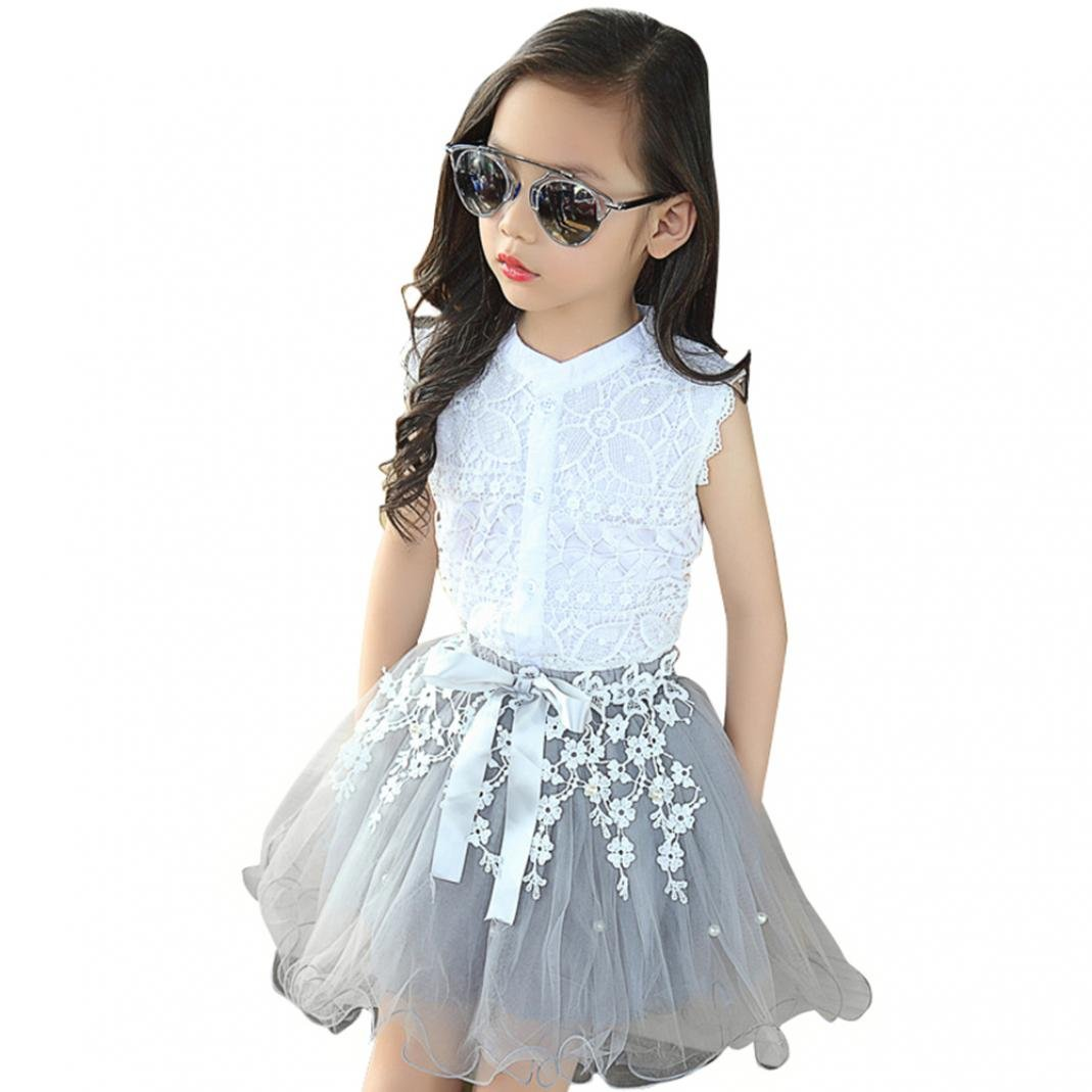 Starlit Kid Dress, 2 in 1 Set Girls Princess Dress Short Tulle Dress Skirt for Summer Size 6T