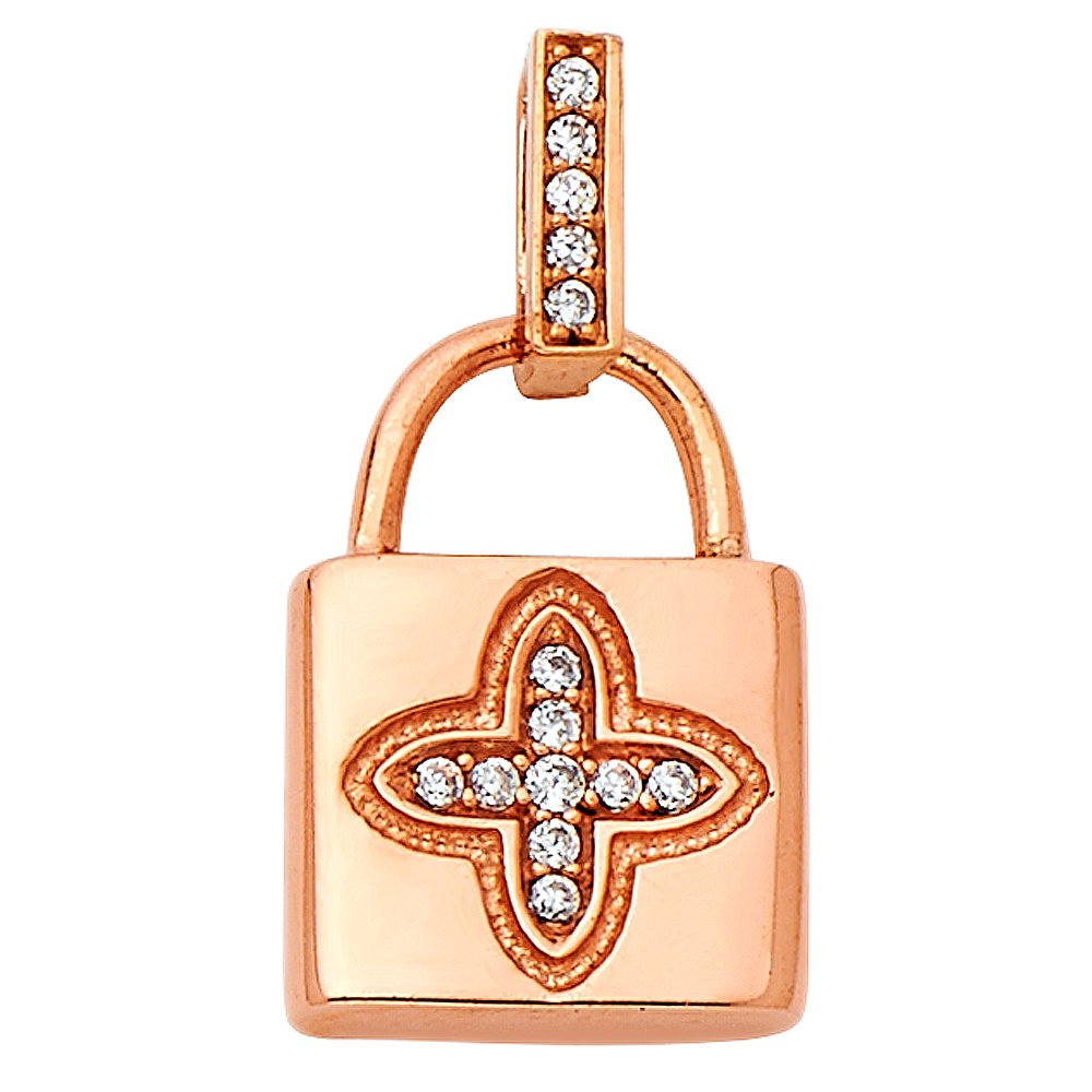 14k Rose Gold Cubic Zirconia CZ Lock Charm Pendant For Necklace or Chain
