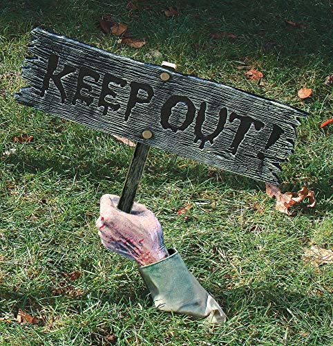Fun World Unisex-Adult's Keep Out Halloween Sign, Multi, Standard]()