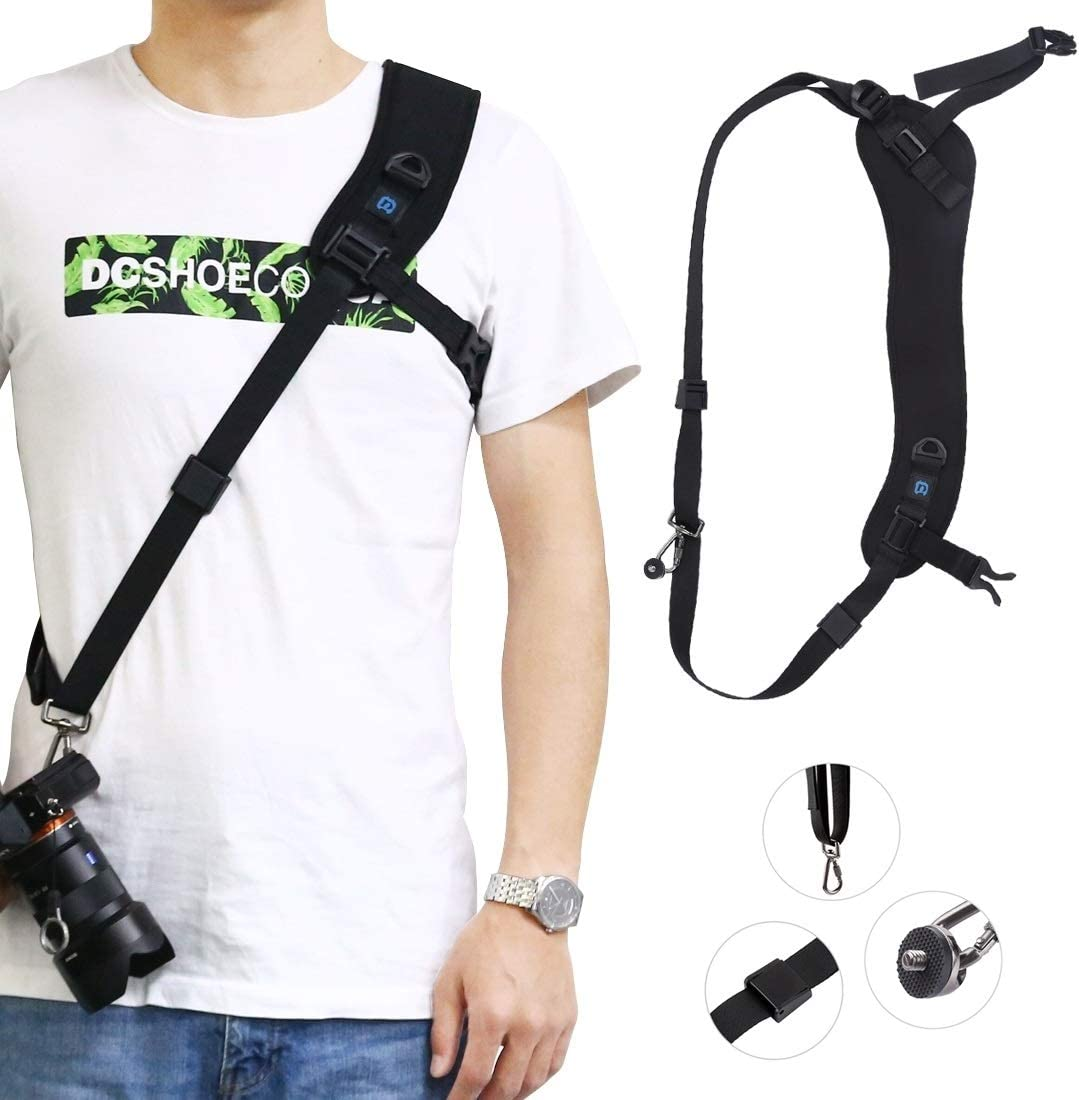 ZQ House Quick Release Anti-Slip Soft Pad Nylon Breathable Curved Camera Strap with Metal Hook for SLR//DSLR Cameras