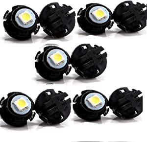 AutoE 10Pcs T6.5 18MMX12.5MM Wedge 5050 1SMD LED Bulbs Dash Dashboard Gauge Cluster Instrument Light,white light