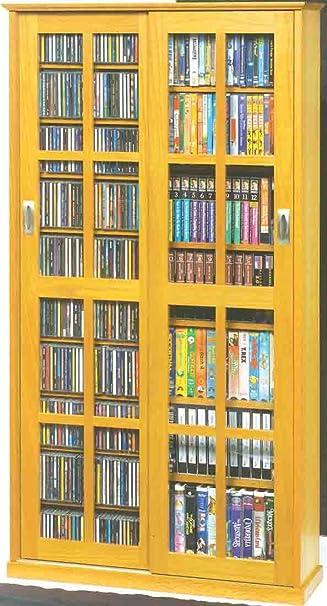 cd and dvd storage cabinet with doors oak finish dame ms mission multimedia sliding glass ikea leksvik shelves