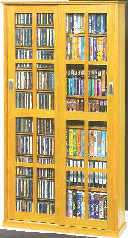 Leslie Dame MS 700 Mission Multimedia DVD/CD Storage Cabinet With Sliding  Glass Doors