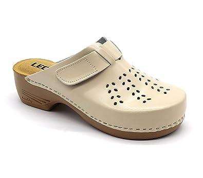 new style 96b2b 05967 LEON PU161 Zoccoli Sabot Pantofole Scarpe Pelle Donna