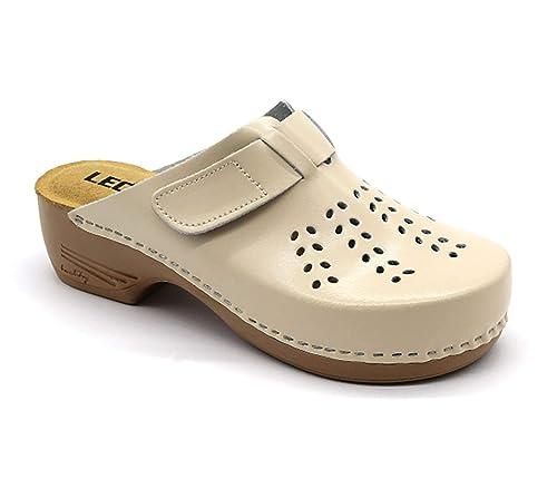 nuovo stile fe996 77314 LEON PU161 Zoccoli Sabot Pantofole Scarpe Pelle Donna